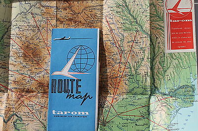 6951 Route map tarom Romanian Air Transport Routen Landkarte Rumänien um 1969
