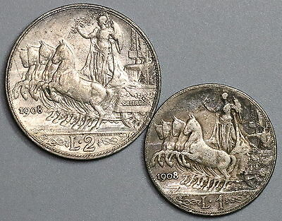 1908 ITALY Silver 1 Lira & 2 Lire Key Date Charriot Coins (16121101R)