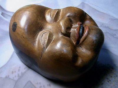 Japanese Antique Wooden Sculpture Okame Woman Face Small Mask Noh Kyogen