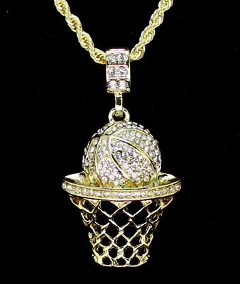 """Iced Out Basketball Pendant 14k Gold Plated 20"""" Rope Necklace Hip Hop"""