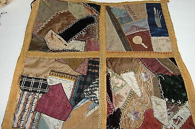 Antique Crazy Quilt Piece Embroidered Stitching Study 17 x 18