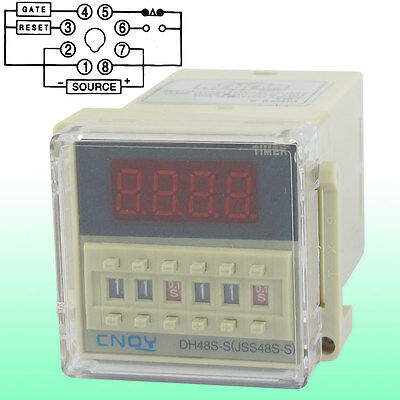 DH48S-S LCD Display Time Timer Delay Relay 8-Pin SPST 0.1S-99H AC 110V