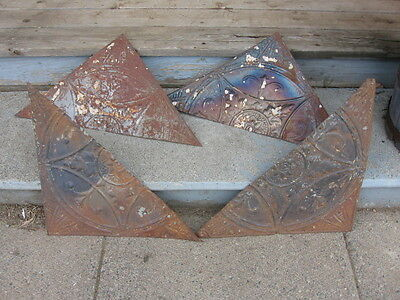 Vintage Reclaimed Ceiling Tin Tile peices- Lot of (4) #A