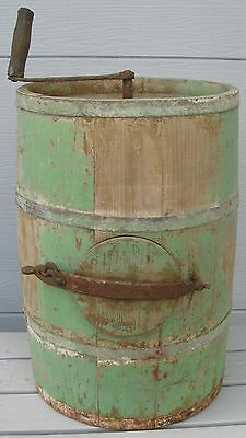 Antique Fabulous Old Green Chippy Paint Staved Wood Butter Churn