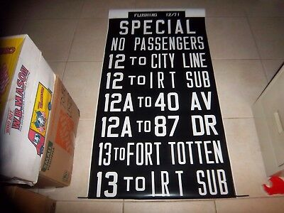 Nyc Ny Irt Subway Bus Queens Flushing Collectible New York Roll Sign Fort Totten