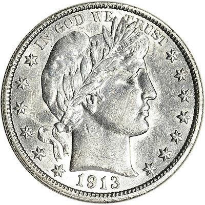 1913 US Barber Silver Half Dollar 50C - AU/BU - Tough P Mint