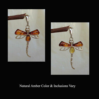 BALTIC HONEY or MULTICOLOR AMBER & STERLING SILVER DRAGONFLY PENDANT CHARM