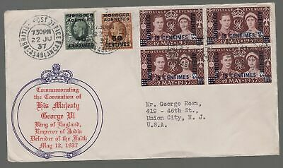 1937 Casablanca Morocco Agencies cover to USA  KGVI Coronation Cachet and Stamps