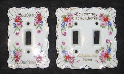 Vtg Kelvin Porcelain Single&Double Light Switch Plate Cover Set~Rose Flower Home