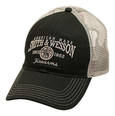 SMITH & WESSON *BLACK & SILVER MESH BACK* AMERICAN MADE Logo HAT CAP *NEW* SW88