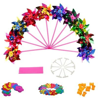 10pcs Plastic Colorful Pinwheel Wind Spinner windmill Wedding Supplies Kid Party