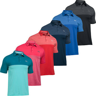 2017 Under Armour Heatgear Playoff Stretch Polo Mens Blocked Golf Polo Shirt