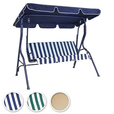 Charles Bentley 2-3 Seater Garden Swing Seat Hammock Chair Stripe / Plain Design