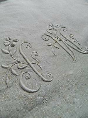 "Antique UNUSED & unbleached French pure linen hand loomed sheet - monogram ""J.W"