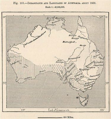 Inhabitants and Languages of Australia about 1850 1885 old antique map chart
