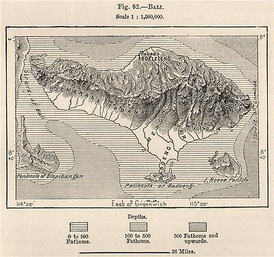 Bali. Indonesia. East Indies 1885 old antique vintage map plan chart