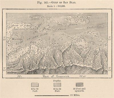 Gulf of San Blas. Panama 1885 old antique vintage map plan chart