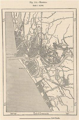 Manila. Philippines 1885 old antique vintage map plan chart