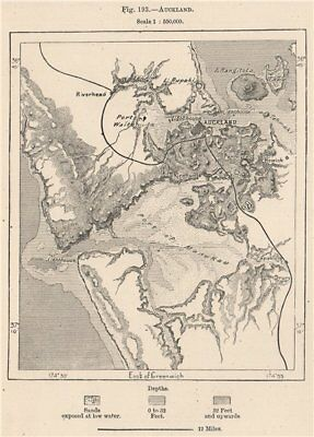 Auckland. New Zealand 1885 old antique vintage map plan chart