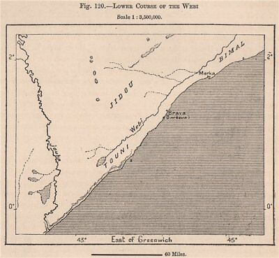 Lower Course of the Webi (Shebelle) river. Somalia 1885 old antique map chart