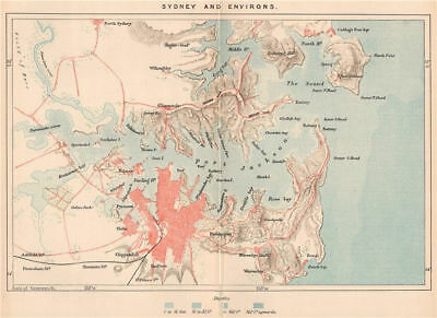 Sydney and environs. Australia 1885 old antique vintage map plan chart
