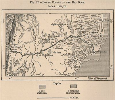 Lower course of the Rio Doce. Brazil 1885 old antique vintage map plan chart