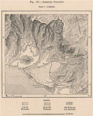 Arequipa Gradient. Islay. Peru 1885 old antique vintage map plan chart