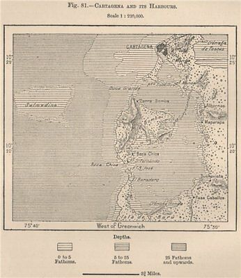 Cartagena and its harbours. Colombia 1885 old antique vintage map plan chart