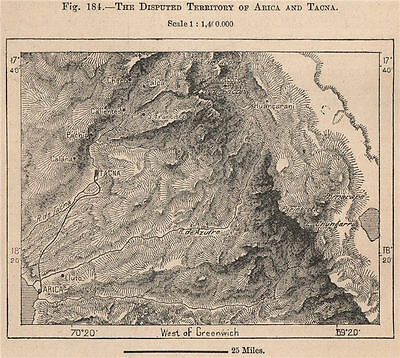 The disputed territory of Arica and Tacna. Peru/Chile 1885 old antique map