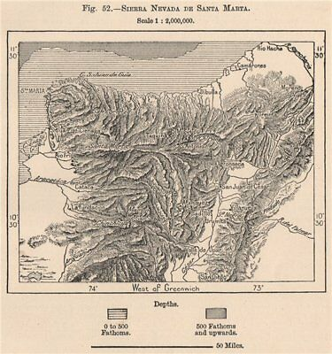 Sierra Nevada de Santa Marta. Colombia 1885 old antique vintage map plan chart