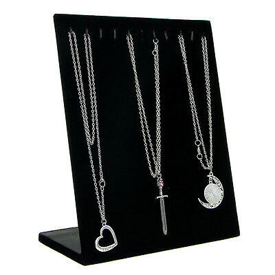 L Type Chain Necklace Pendant Show Display Stand Velvet Jewelry Holder 11 Hooks