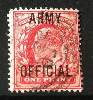 GB King Edward VII 1902 Army Official 1d One Penny Scarlet Stamp Good Used
