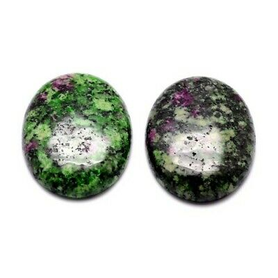 3 x Green/Black Ruby In Zoisite Flat Back 13x18mm Oval 6mm Thick Cabochon Y07410