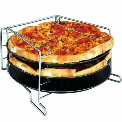 3 Tier Pizza Tower Baking Set Serving Plate 30cm Tray Oven Grill Rack Stand