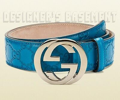 GUCCI teal 38-95 GUCCISSIMA leather gold Interlocking G buckle belt NWT Authentc