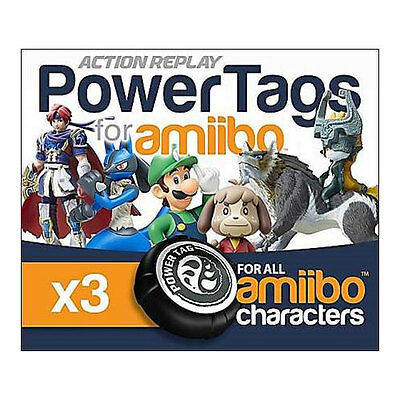 Action Replay Powertags For Amiibo For Nintendo Wiiu 3Ds Switch - 3 Pack