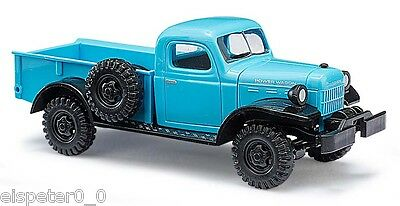 Busch 44024, Dodge Power Wagon con Cassone, Blu, H0 Auto Modello 1:87