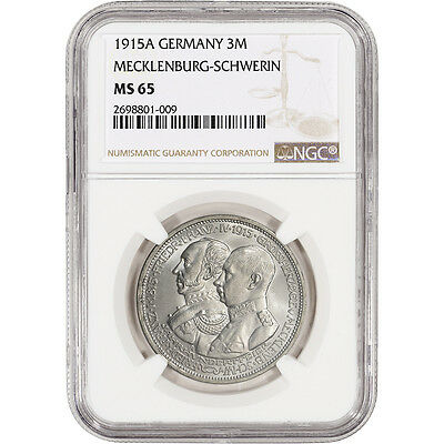 1915 A Germany Mecklenburg Schwerin Silver 3 Mark - Georg's Death- NGC MS65