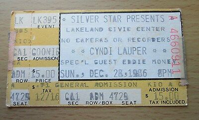 1986 Cyndi Lauper Eddie Money Lakeland Concert Ticket Stub She's So Unusual