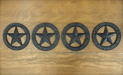 """4 Antique-Style Rustic Western Cast Iron Metal Circle Barn Star Wall Decor 6.25"""""""