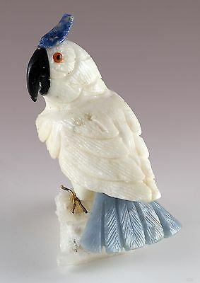 """Hand Carved Stone Cockatoo Cockatiel Bird Figurine 3.5"""" High - Chipped Comb"""