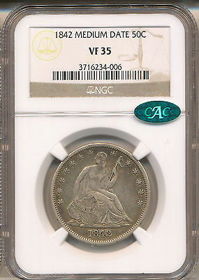 1842 Small Date, Rev  Seated Liberty Half Vf35 Ngc Cac  Wb-8