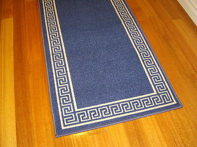 Hallway Runner Blue Cream Modern Hall Runner Rug 4 Metres Long FREE DELIVERY