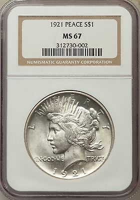1921 US Peace Silver Dollar $1 - NGC MS67