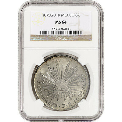 1875 Go FR Mexico Silver 8 Reales - NGC MS64