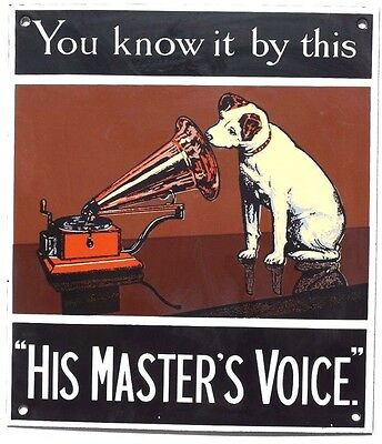 """Vintage RCA Victor You Know it by this """"His Masters Voice"""" Porcelain Sign"""