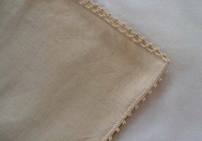 Set of 12 Vintage Irish Linen Dinner Napkins Picot Lace Edge Ecru Unused