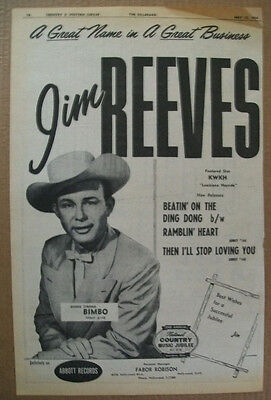 Jim Reeves 1954 Ad- Bimbo/Abbott featured star KWKH Louisiana Hayriide country