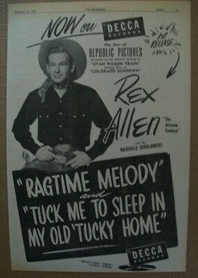 Rex Allen and the Nashville Dixielanders 1951 Ad- Ragtime Melody Decca
