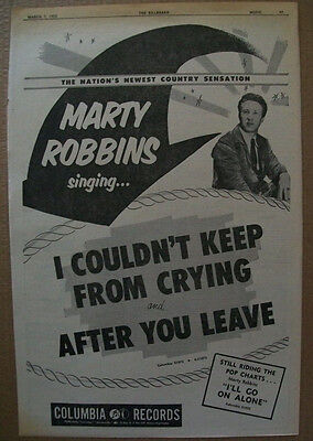 Marty Robbins 1952 Ad- I Couldn't Keep From Crying/After You Leave